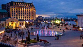 Вечерняя Почтовая площадь в Киеве