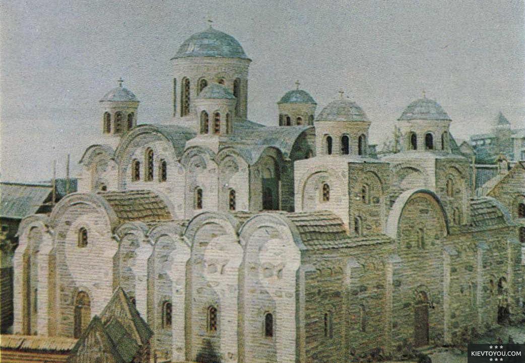 Рисунок с изображением Десятинной церкви в Киеве