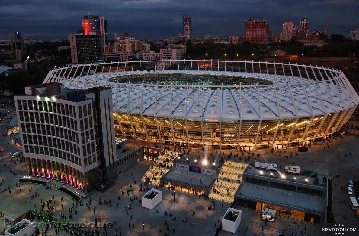 Вид на НСК Олимпийский с высоты
