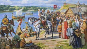 Княгиня Ольга в Киеве со своим мужем и сыном